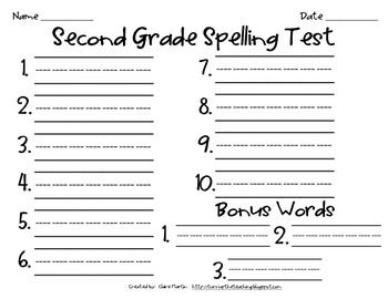test templates for teachers - super cute spelling test template for first and second