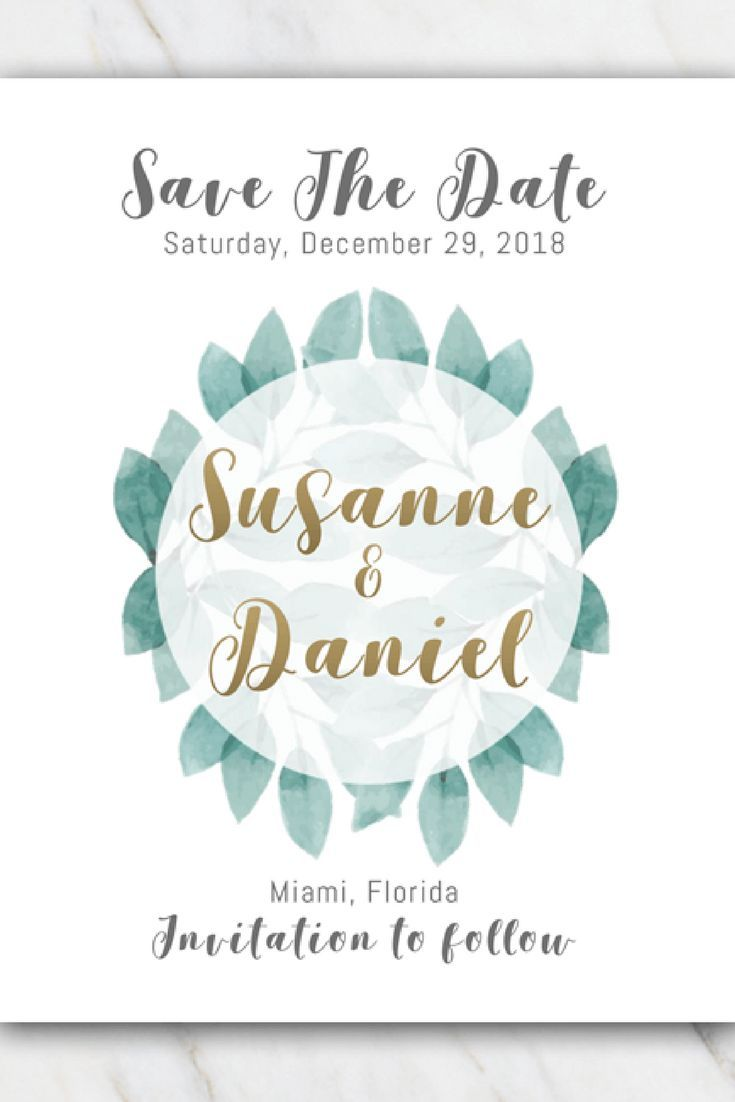 Green Leaves Wedding Save The Date Template Free Templates