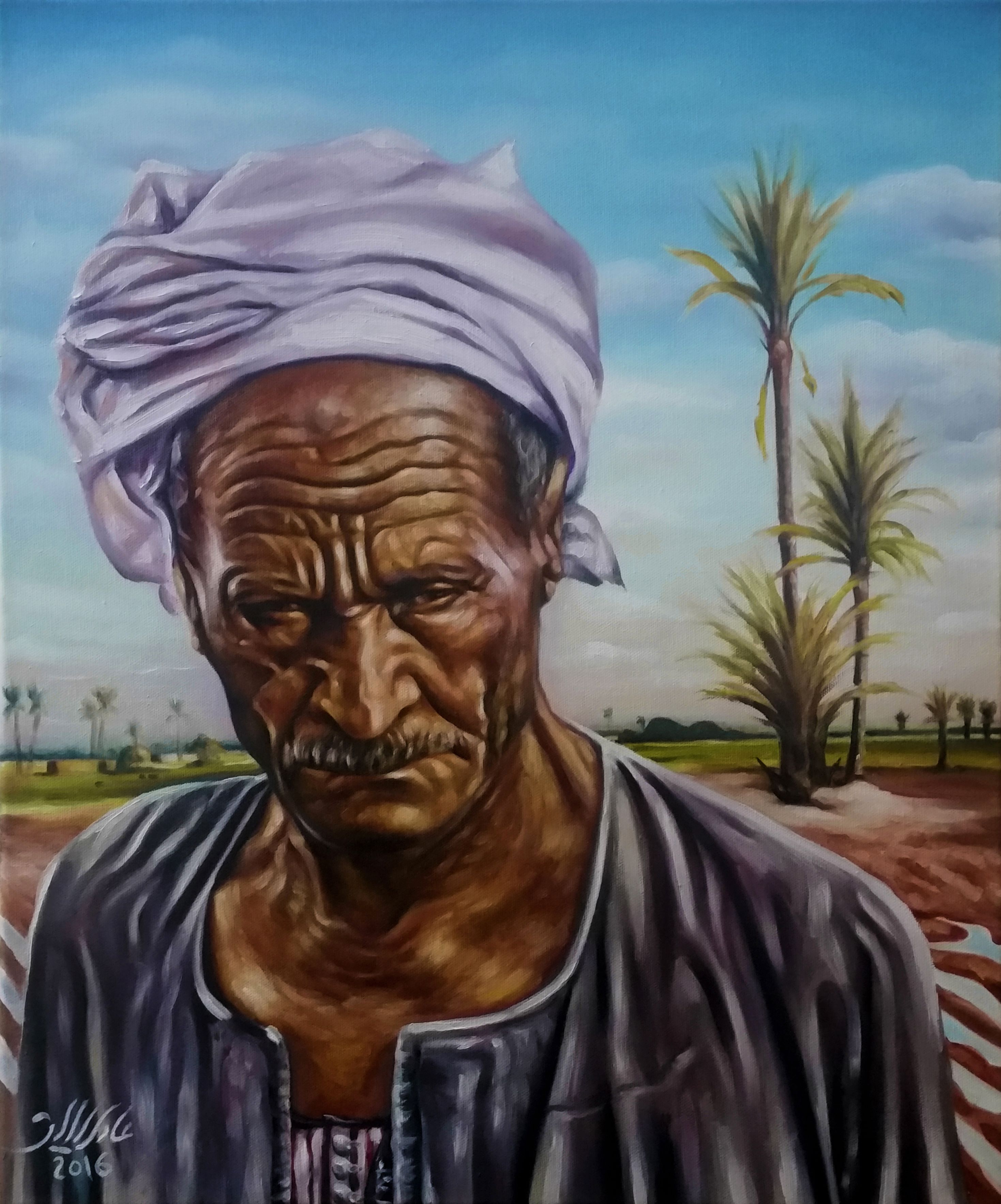Adel elliethy egypt oil painting canvas 50 60 for Egyptian mural paintings