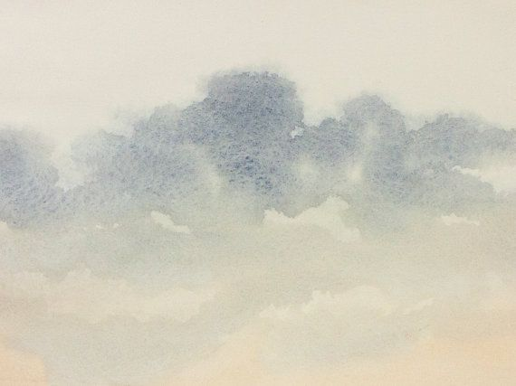 Exceptionnel ART ORIGINAL WATERCOLOR Painting Cloudy Sky-Light Cloud, grey  XI28