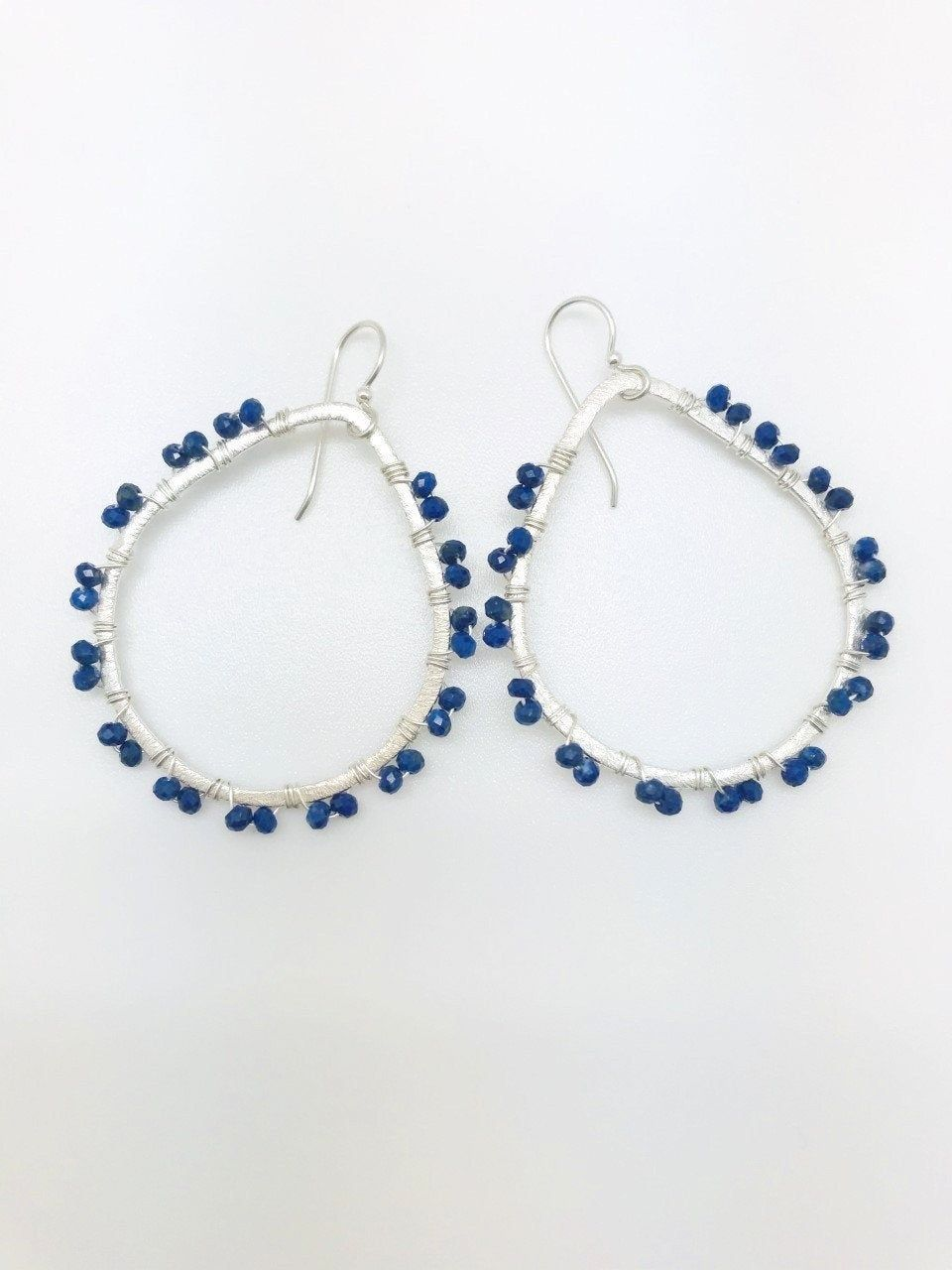 Golden creole earrings Blue Moon with Lapis-Lazuli beads mother-of-pearl little stars moon faceted drops Lapis-Lazuli