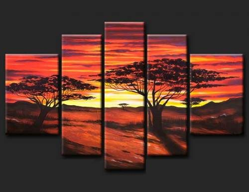 Cuadros modernos tripticos paisajes africanos texturados - Bimago cuadros modernos ...