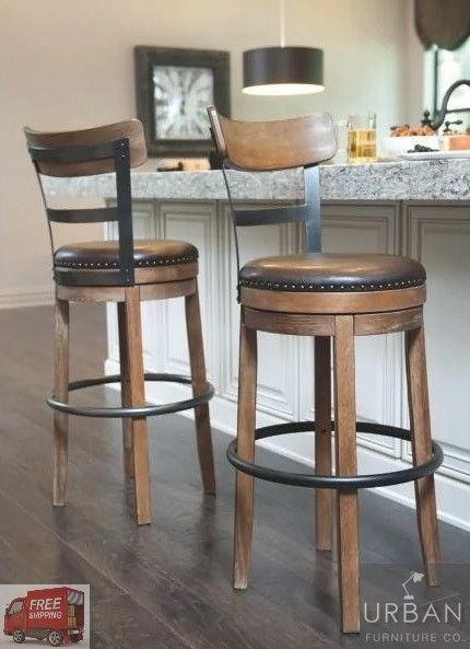 Details About Bar Height Swivel Stool Back Tall Kitchen