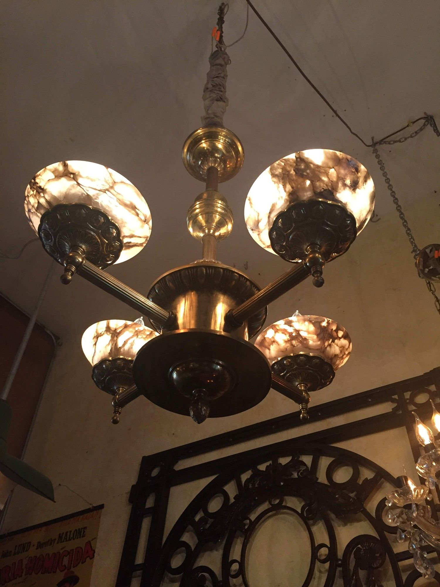 A 1940s Brass And Alabaster Shades Library Chandelier From An Old