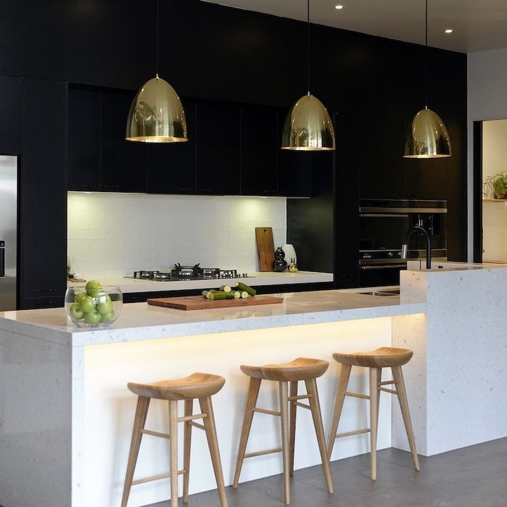 Black And White Kitchen Ideas brass lighting and the classic black and white twotone color