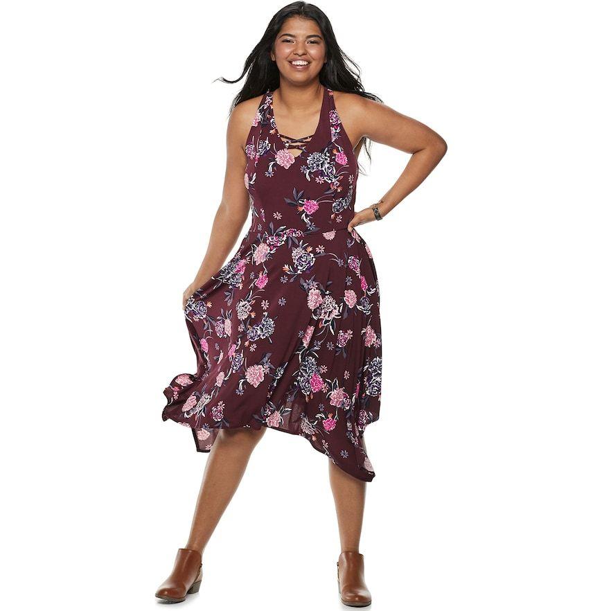 Juniors\' Plus Size Candie\'s® Lace-Up Handkerchief Maxi Dress ...