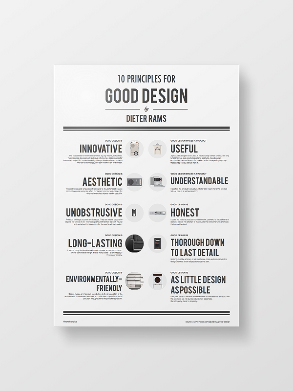 Dieter Rams 10 Principles For Good Design Illustrated As A Clean Simple Poster Brochure Inspiration Cool Designs Simple Poster