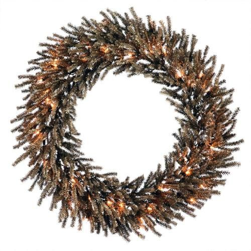 "24"""" Pre-Lit Sparkling Chocolate Brown Artificial Christmas Wreath - Clear Lights"