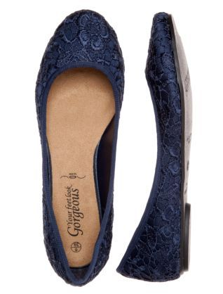 Navy Blue Lace Pumps 260059541 New Look