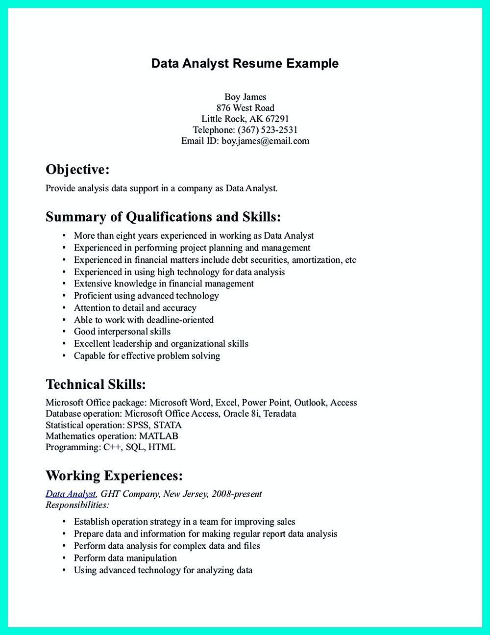 Data analyst resume will describe your professional