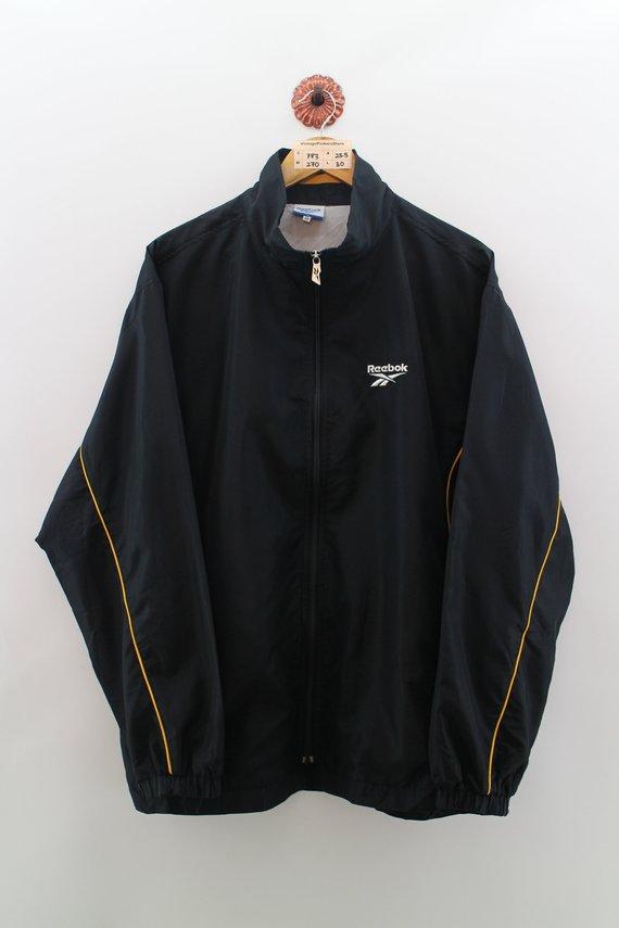 16f0c0bf Vintage REEBOK 90s Windbreaker Jacket Unisex Oversize Reebok Sportswear  Zipper Jacket Reebok Black Y