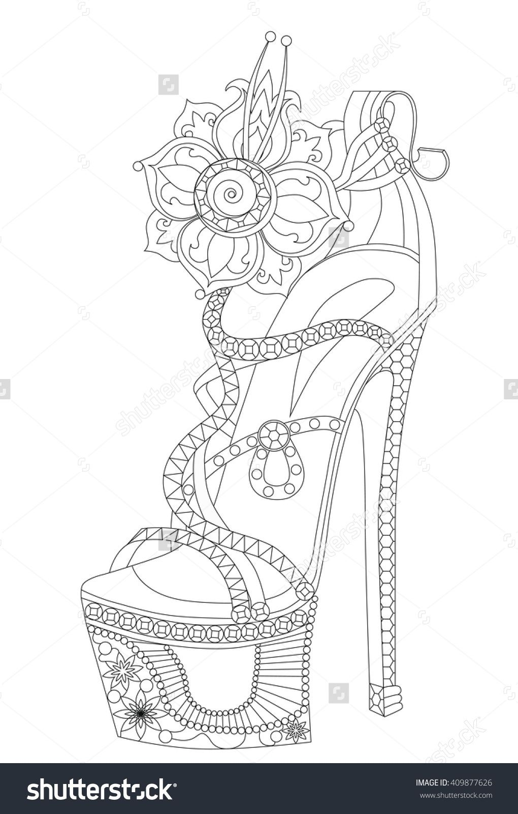 Shoe With Flowers Coloring Books For Adults Vektorova Ilustrace 409877626 Shutterstock Coloring Books Fairy Coloring Free Printable Coloring Pages
