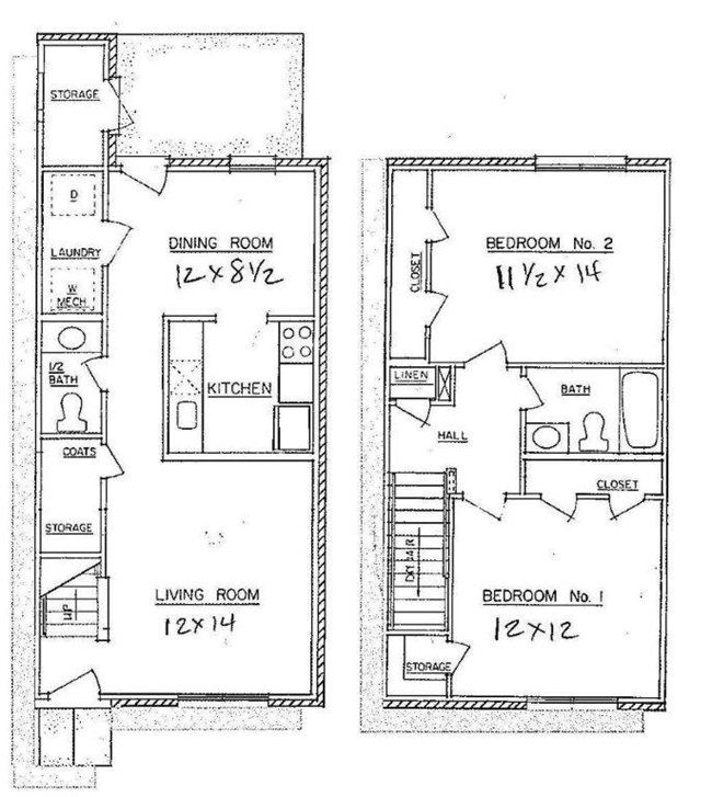 2 bedroom town home westwood apartments floor plans for Townhouse floor plans