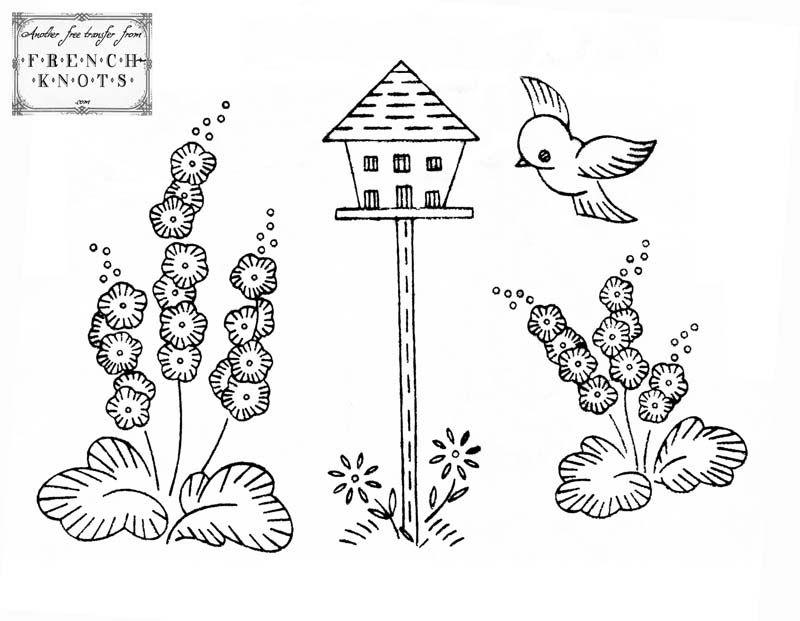 free Cute Birdhouse Scene Embroidery Transfer Pattern