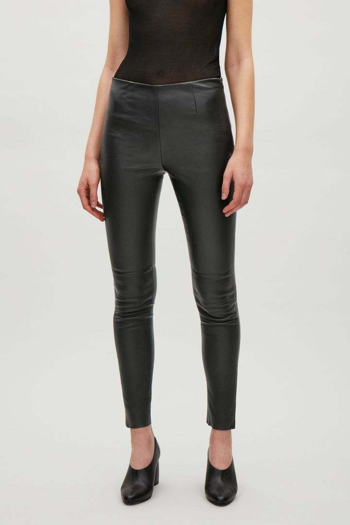 98a416be9f COS image 2 of Slim-fit leather trousers in Black | Clothing ...