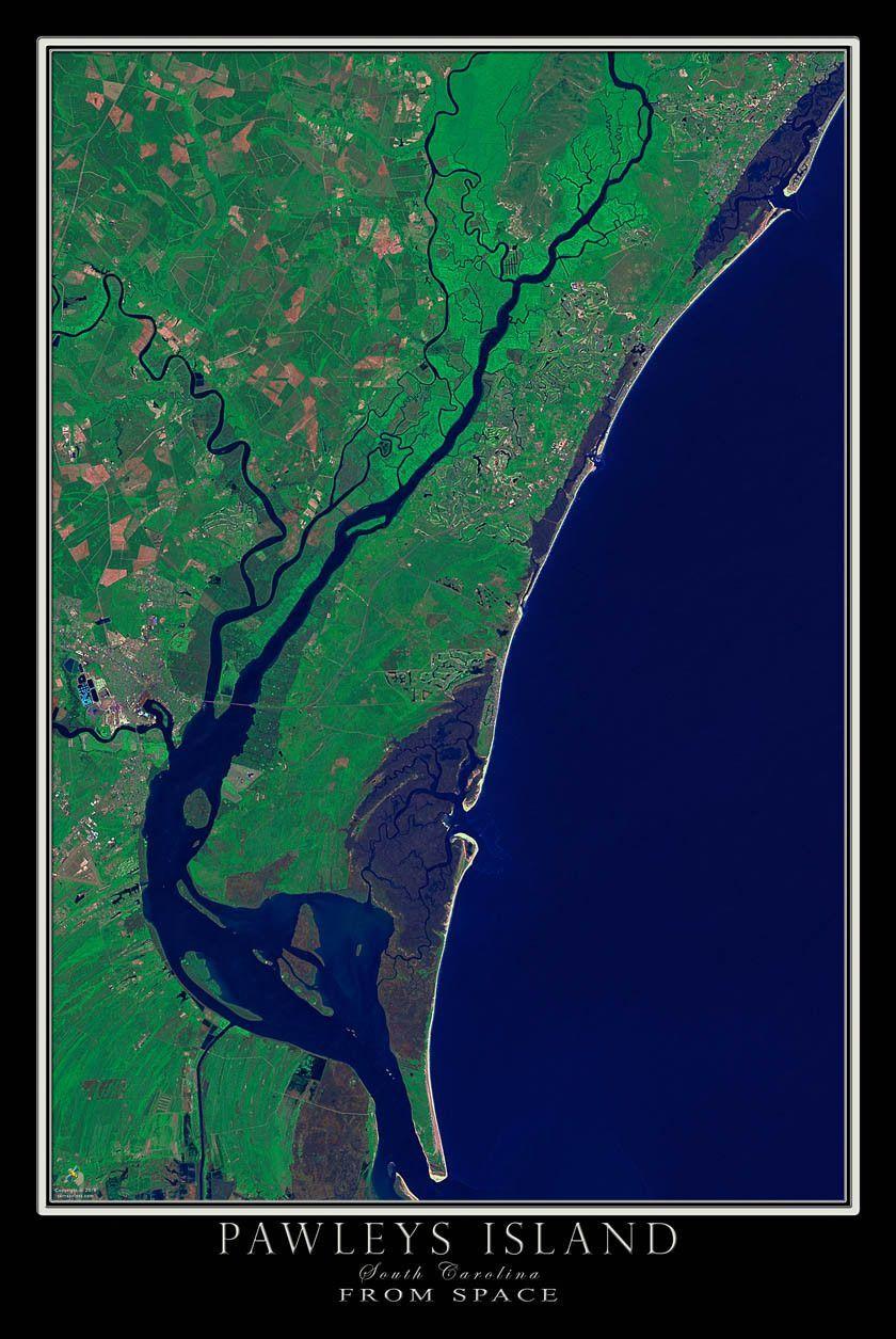 Pawleys Island South Carolina Map.Pawleys Island South Carolina Satellite Poster Map Pawleys Island