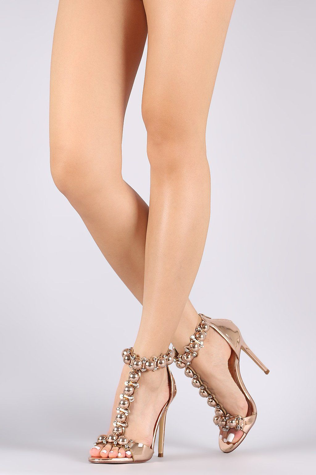 3719d7791a Liliana Patent Bullet And Button T-Strap Stiletto Heel - Avenue of Angels