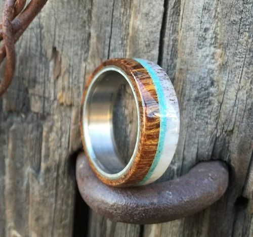 the banner wood wedding band with antler and turquoise