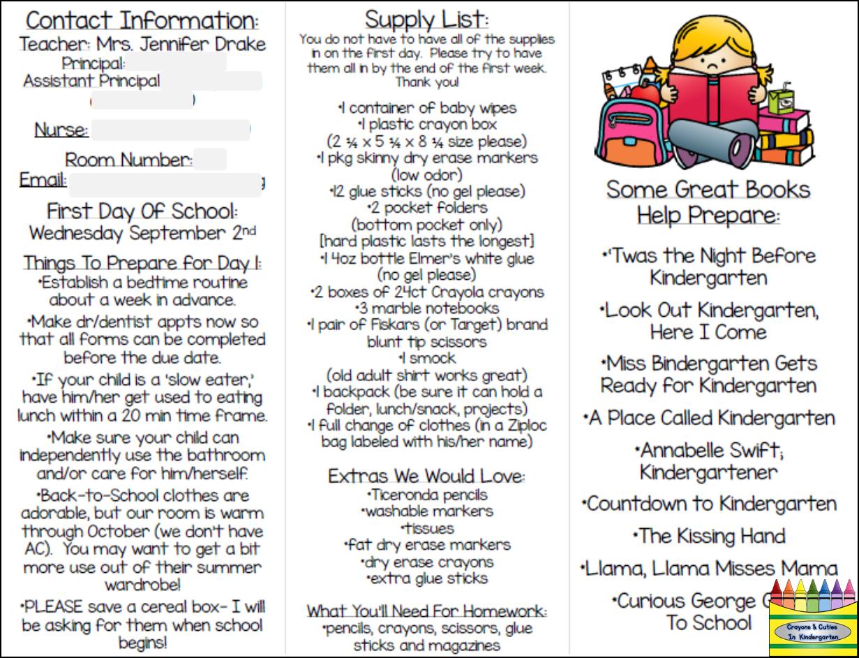 Parent Pamphlet For Kindergarten With Images