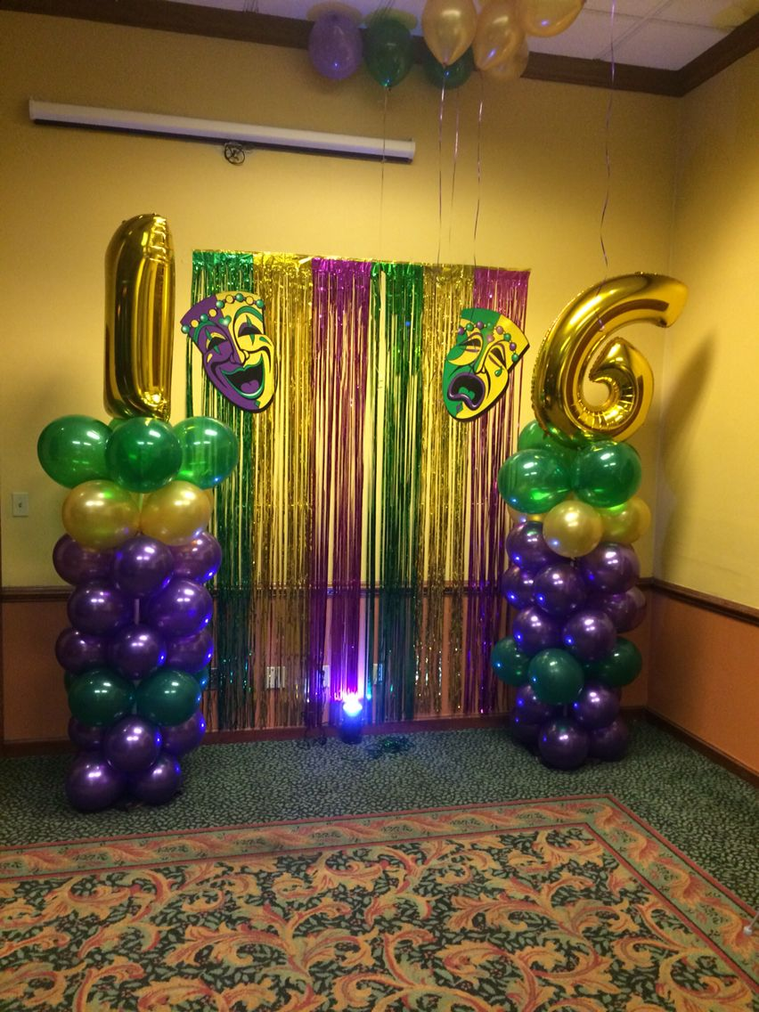 Sweet 16 mardi gras balloon decor and backdrop by glitter for Balloon backdrop decoration