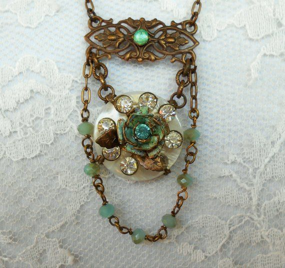 Vintage Rose Assemblage Necklace Mother-of-pearl