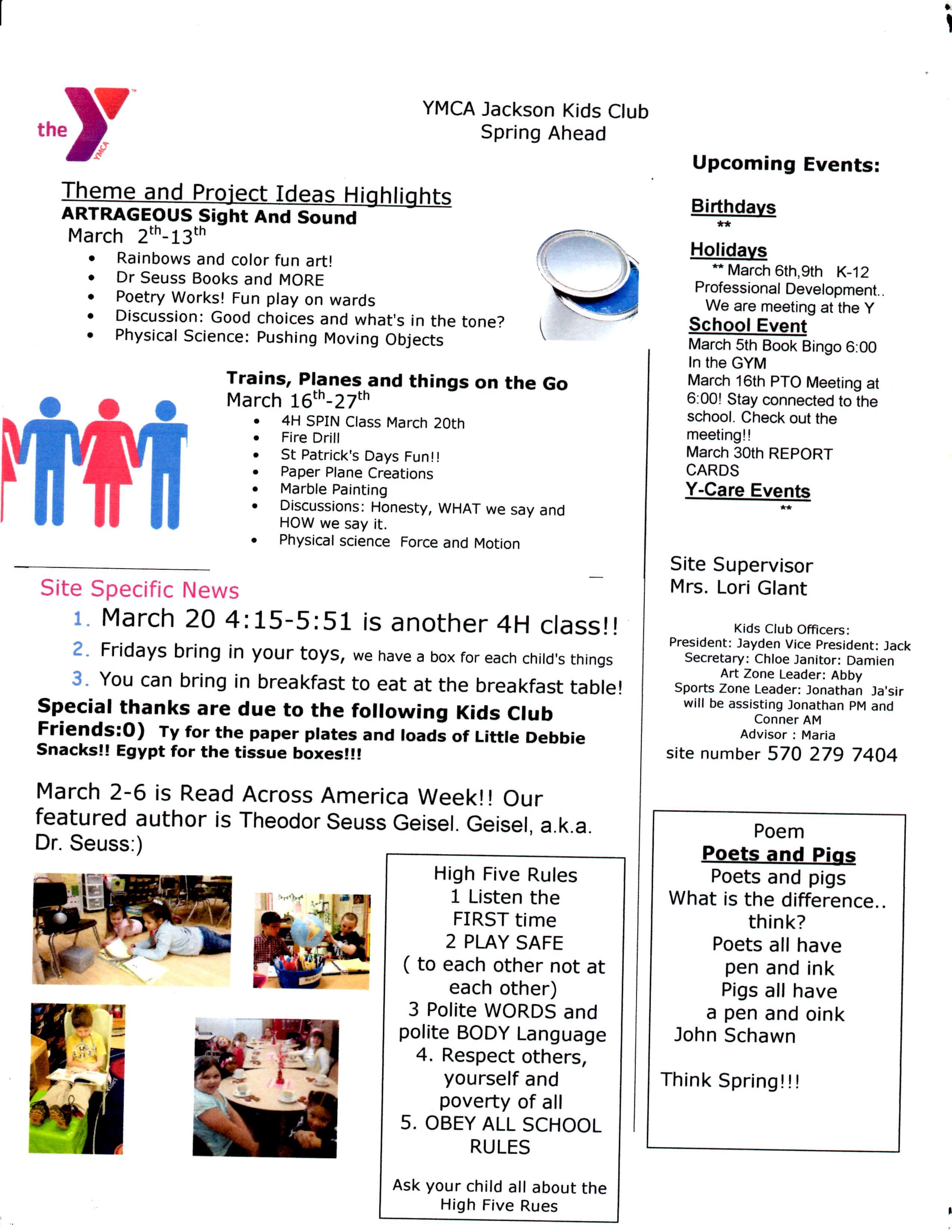 sample of my newsletter for the kids club the ymca school age sample of my newsletter for the kids club the ymca school age before and after school