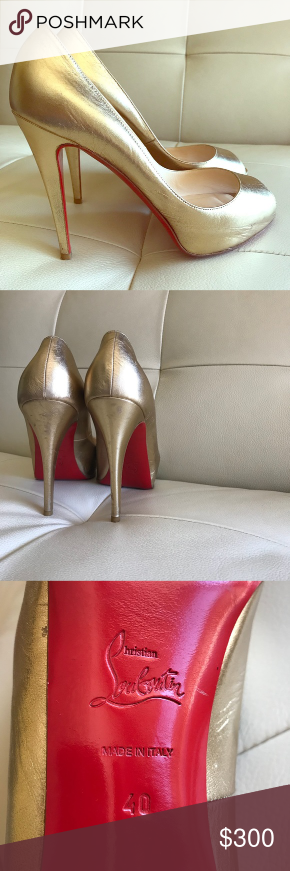 e2afe0cdab Christian Louboutin Very Prive 120 Pumps Gold 9 100% genuine Christian  Louboutin peep toe heels in excellent condition! DESCRIPTION PRODUCT  OVERVIEW ...