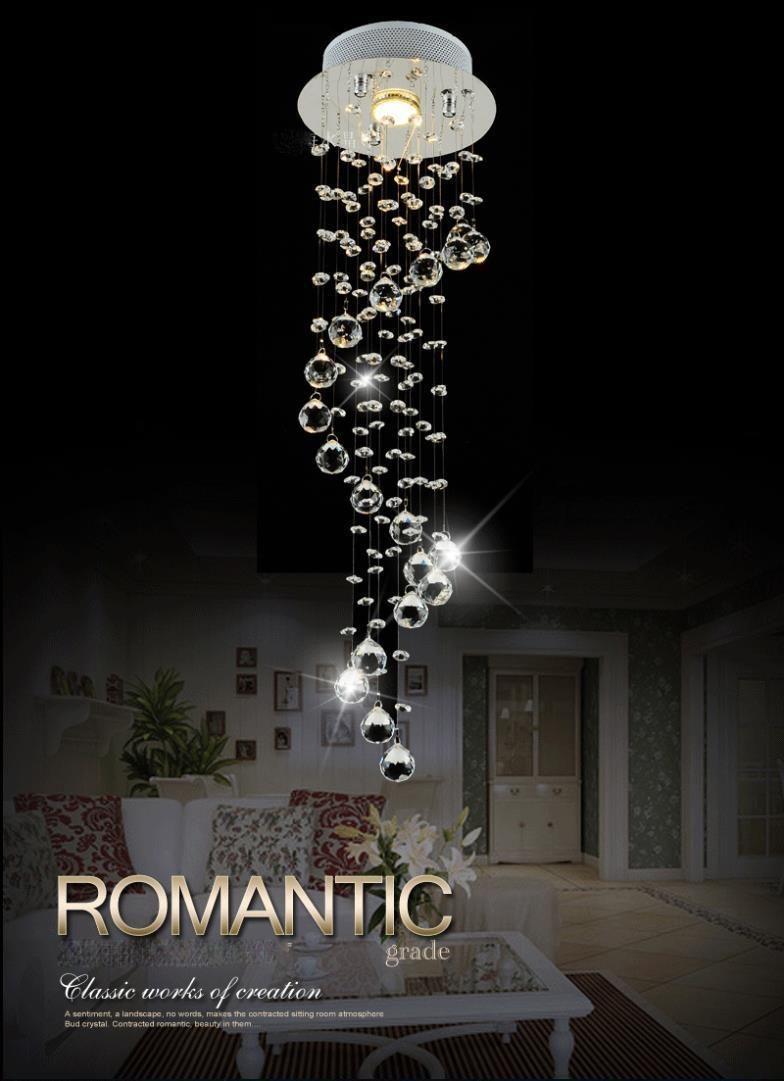 Modern Luxury Spiral Crystal Chandelier Pendant Hanging Lamp