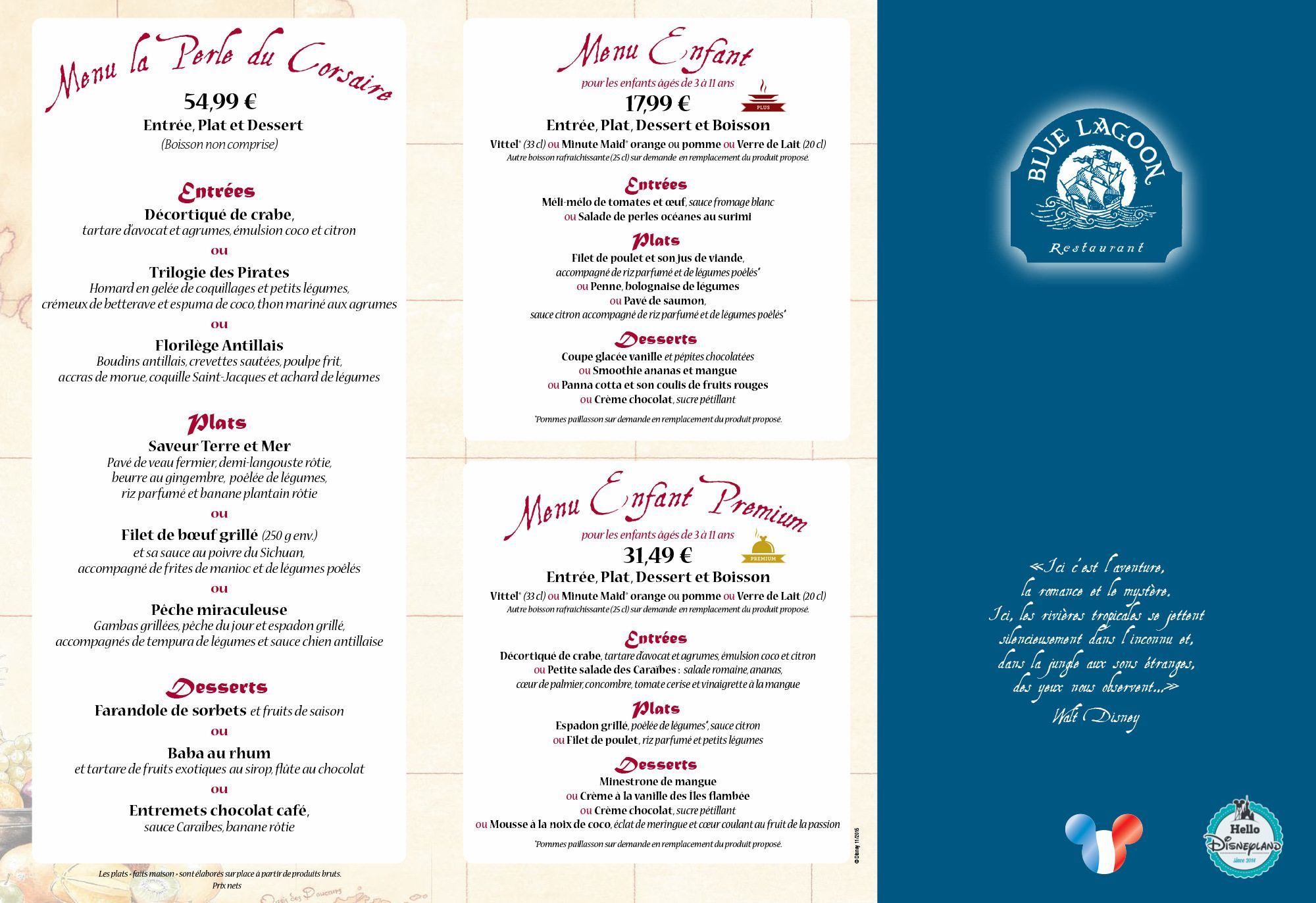 blue lagoon restaurant menu 2015 2016 poirates des caraibes - Blue Restaurant 2015