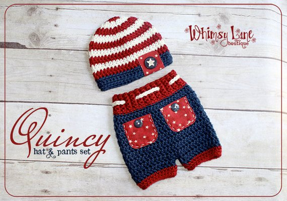 bff8231fc Newborn Patriotic Hat And Pants Outfit, 4th Of July Set, Crochet Stripe  Beanie, Boy Photo Prop