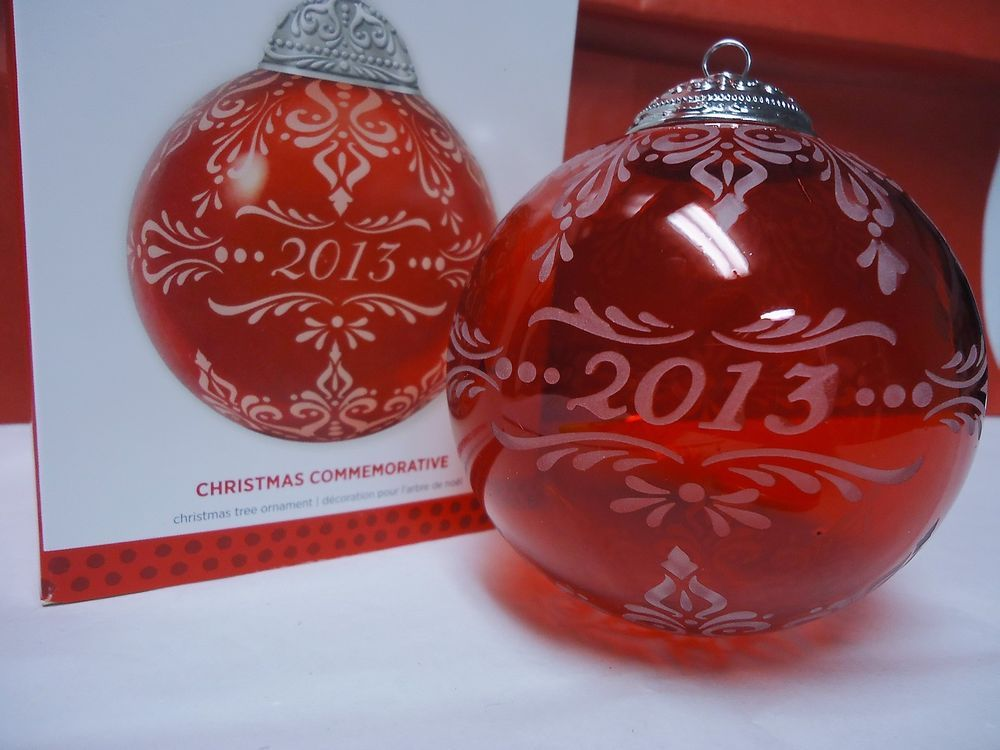 2013 Hallmark Christmas Commemorative Red Glass Ball Ornament New in Box |  eBay - 2013 Hallmark Christmas Commemorative Red Glass Ball Ornament New In