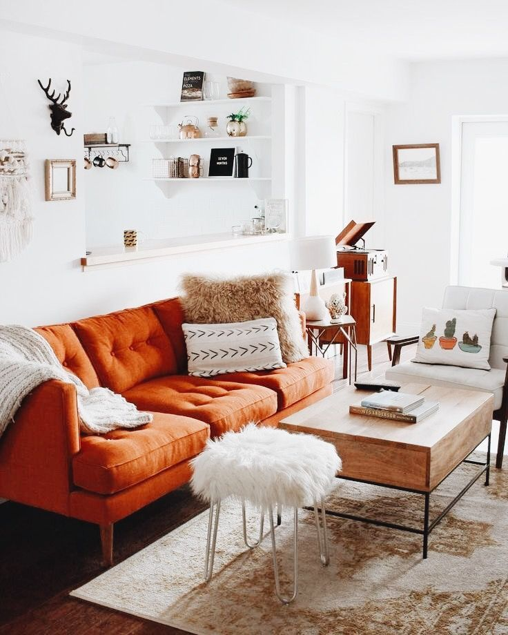 I Love This Burnt Orange Couch Bohemian Farmhouse In 2019 Living Room Designs Home Decor Home Living Room
