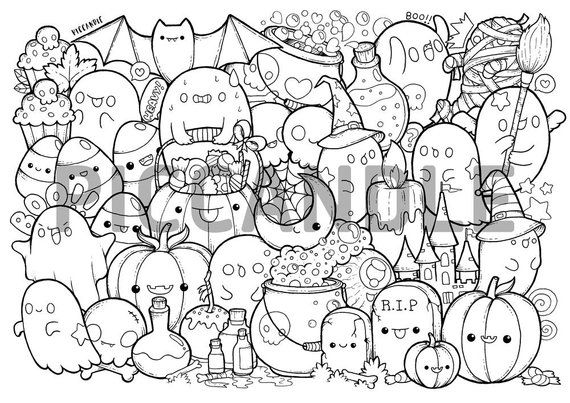 Halloween Doodle Coloring Page Printable Cute Kawaii Coloring Page