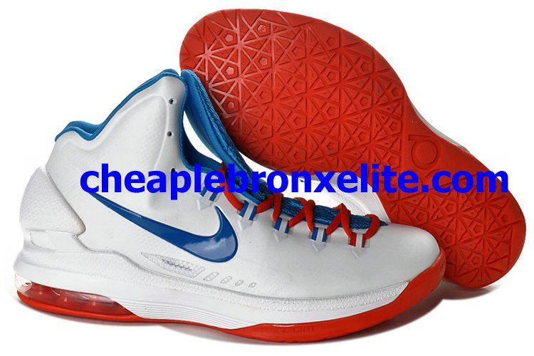 new product f088d 62569 Nike Zoom KD V Cheap Home White Blue Orange 554988 100