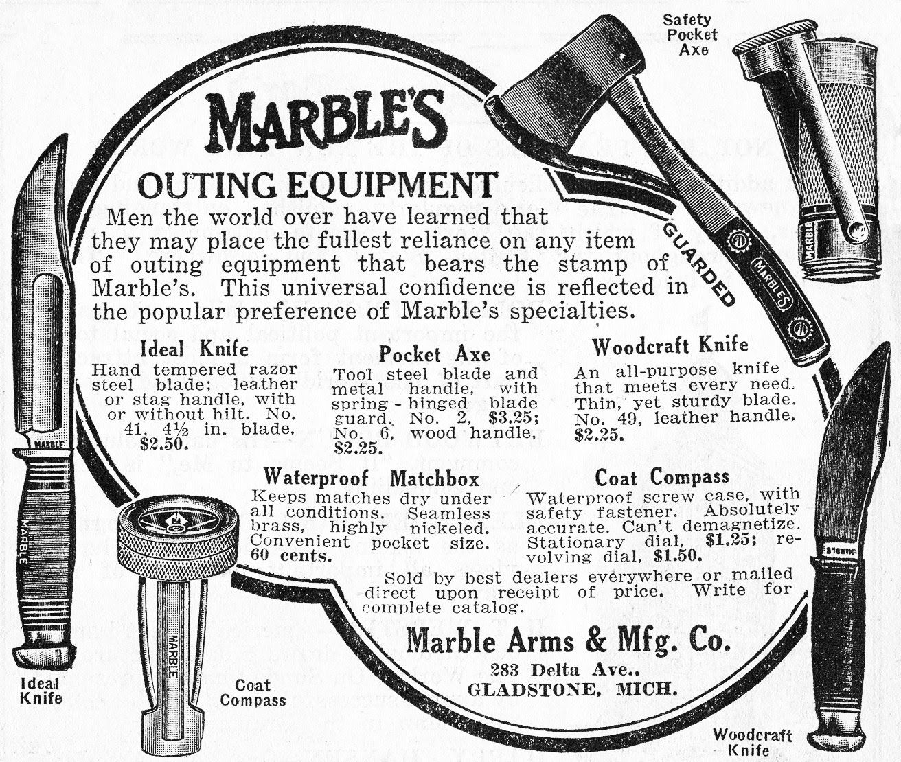 Vintage Marbles Outing Equipment Ad
