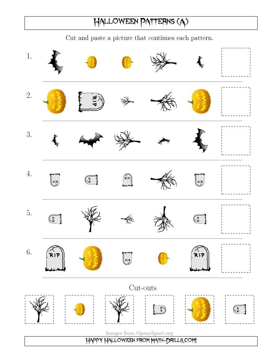 The Scary Halloween Picture Patterns With Shape Size And Rotation Attributes A Math Wo Scary Halloween Pictures Halloween Math Worksheets Halloween Pictures [ 1165 x 900 Pixel ]