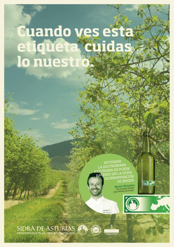 cartel para la campaña, cunado ves la etiqueta, para el consejo regulador de la sidra de asturias