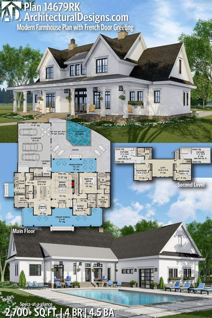 Plan 14679RK: Modern Farmhouse Plan with French Door Greeting #smallmodernfarmhouseplans