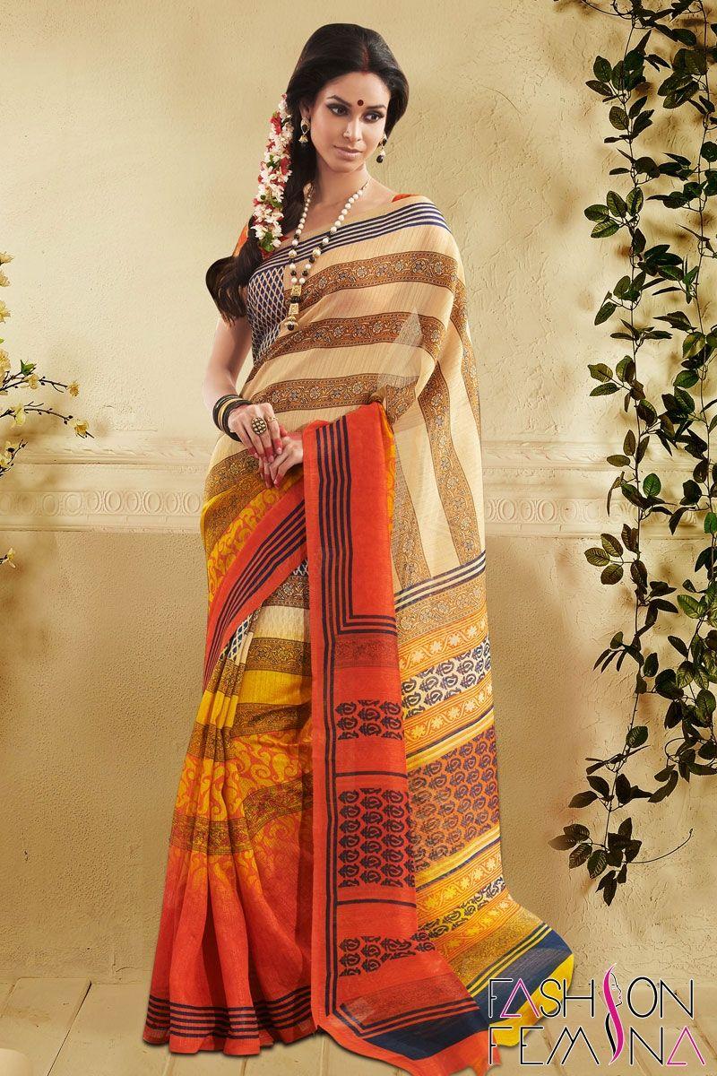 Black colour saree images shaded orange art silk bhagalpuri casual saree  collection of