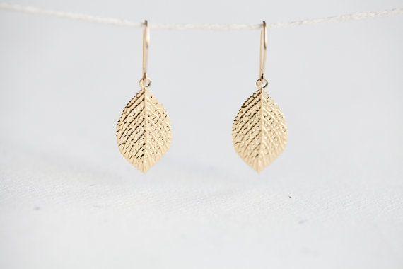Gold Leaf Earrings Dipped Sterling Silver Dangle
