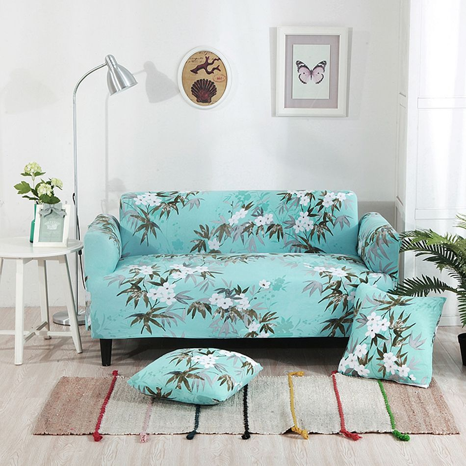 Green universal sofa cover tree and flower patterns suitable for