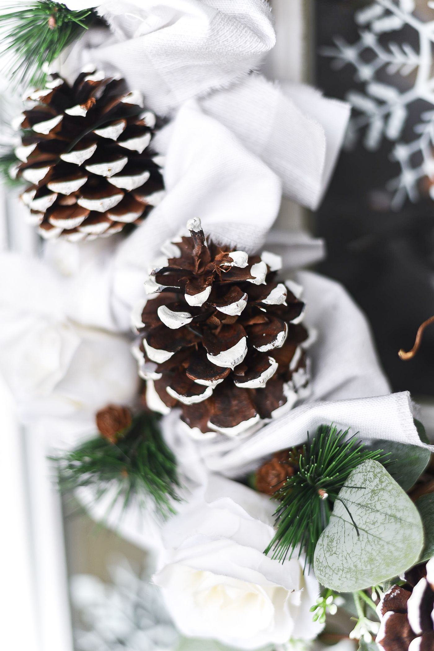 Photo of Winter Wreath with Painted Pine Cones & Buffalo Check Bows – It All Started With Paint
