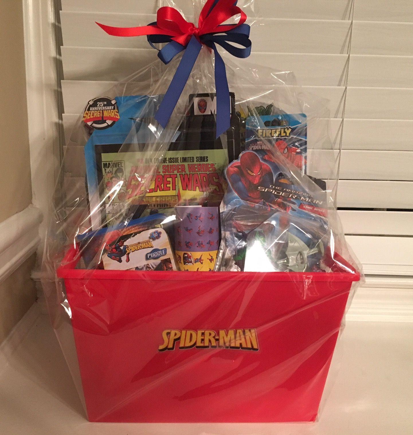 Spider man Gift Basket | Diy gift baskets, Men gift basket