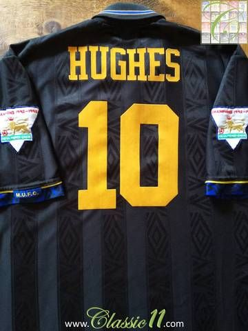 d61748ade Official Umbro Manchester United away football shirt from the 1993 94  season. Complete with Hughes  10 on the back of the shirt and 1992 93  Premier League ...