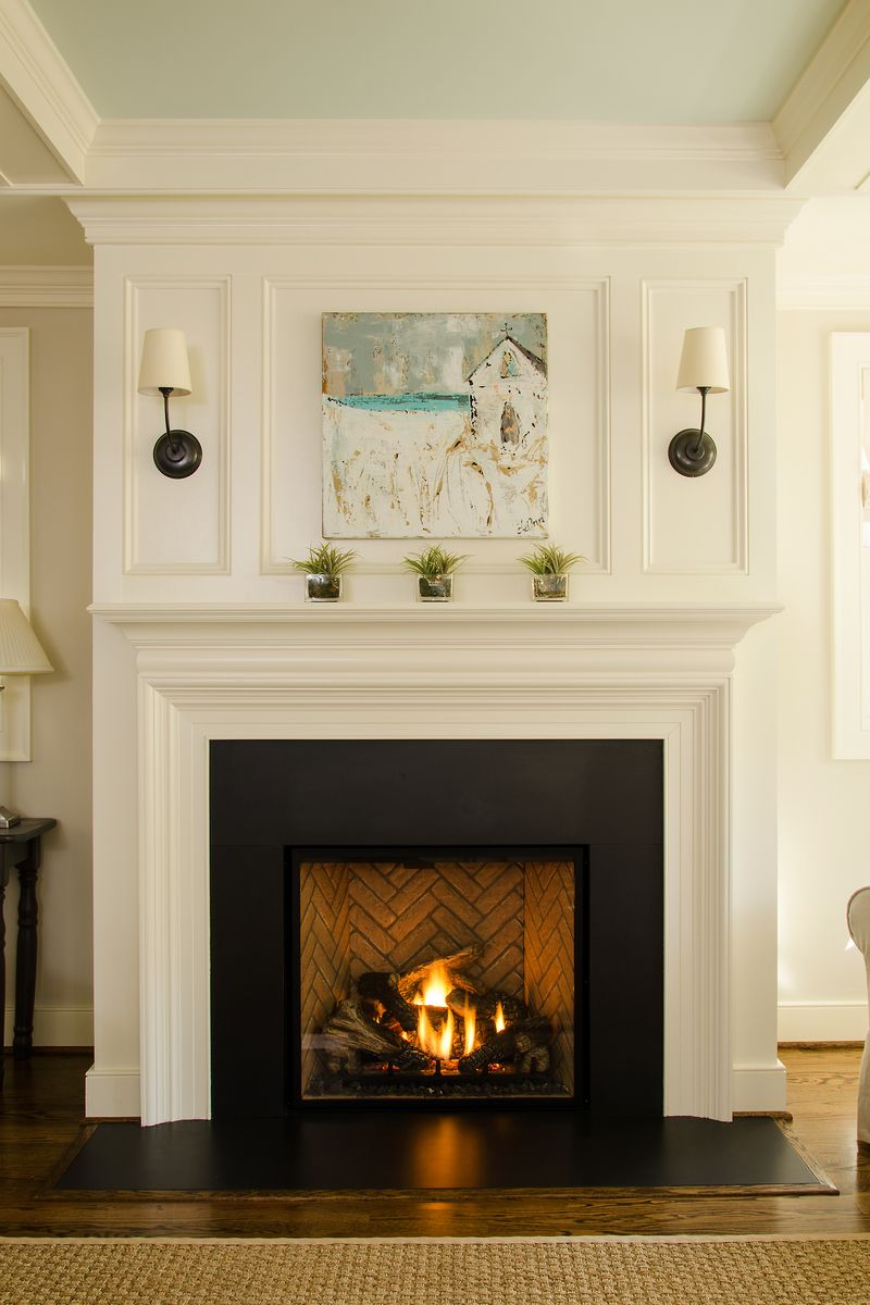 Gas fireplace with custom mantle and surround | Fireplace surrounds, Fireplace design, Fireplace