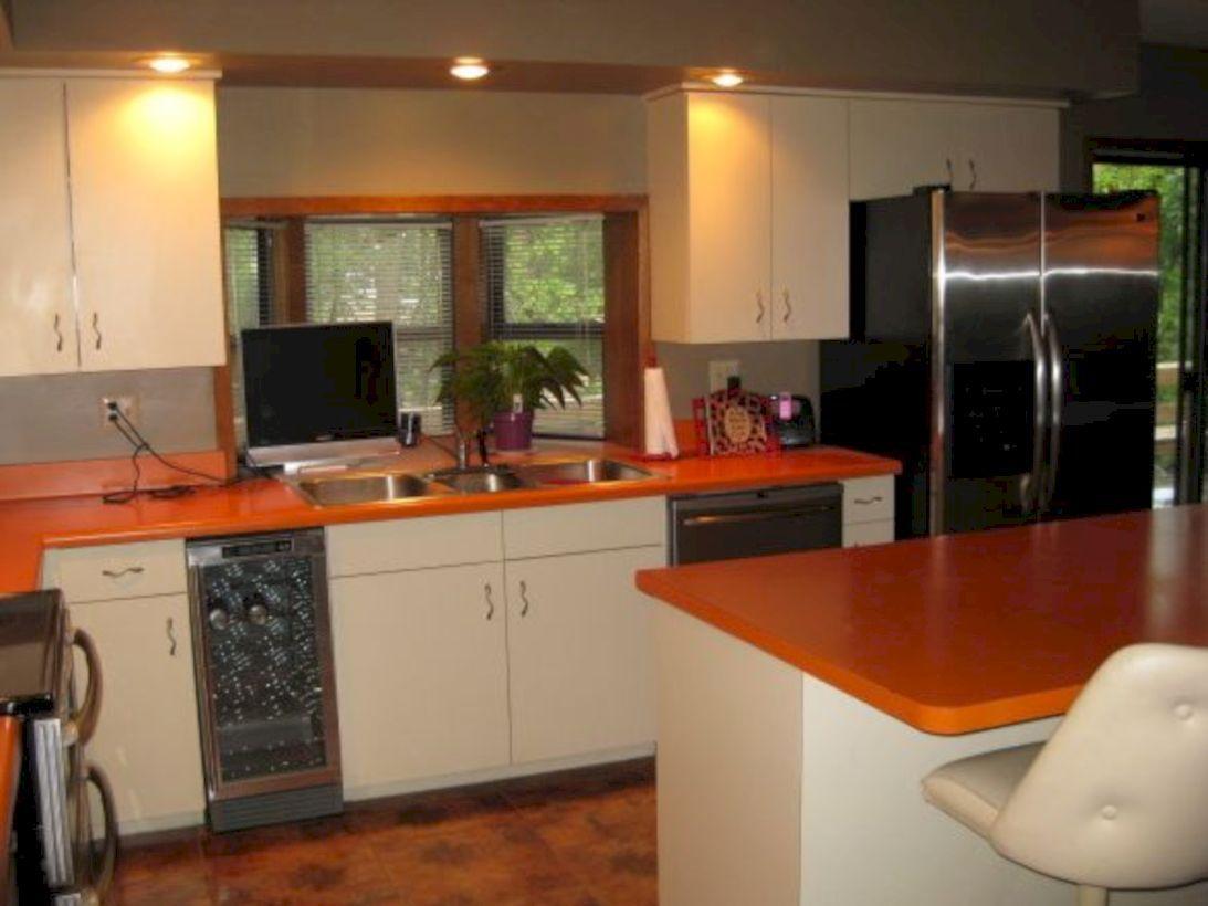 47 Inventive Kitchen Countertop Organizing Ideas To Keep It Neat Godiygo Com Kitchen Countertops Kitchen Design Orange Kitchen Orange countertops in kitchen