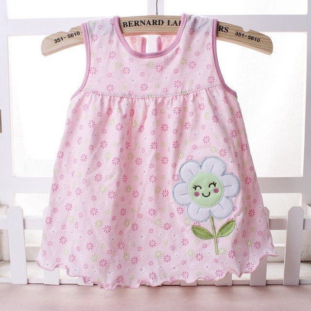 Sleeveless Cotton Embroidery Dress, Varied Colors & Designs