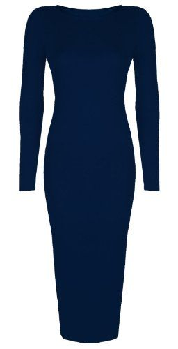 Womens Ladies Celebrity Inspired Long Sleeve Bodycon Midi Calf Length Dress - Normal and Big Sizes (XL/XXL (20-22), Navy) Baleza http://www.amazon.co.uk/dp/B00G48DGFS/ref=cm_sw_r_pi_dp_aVmBwb0FWEJSV