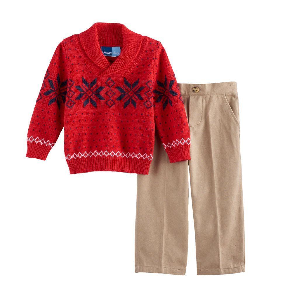 10f53805f Baby Boy Great Guy Snowflake Shawl Pullover Sweater   Khaki Pants ...