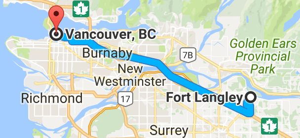 Vancouver Bc Canada Map.Map From Fort Langley Langley Bc Canada To Vancouver British